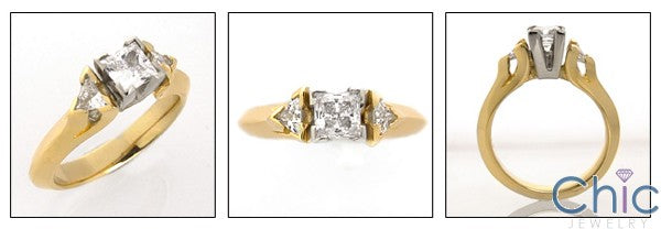 Cubic Zirconia 3 Stone .50 Princess Center Trillion Sides Cz Ring 14K Yellow Gold