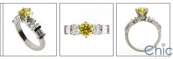 Engagement .75 Ct Round Center Channel Baguettes Rounds Cubic Zirconia Cz Ring