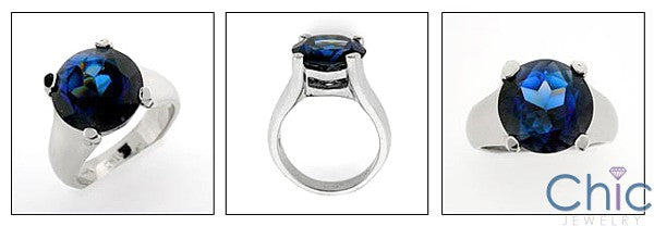 Anniversary 6 Ct Sapphire Round 4 Prong Solitaire Cubic Zirconia Cz Ring