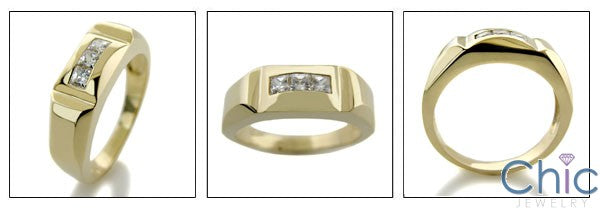 Mens .45 Princess in Channel Cubic Zirconia CZ Wedding Band