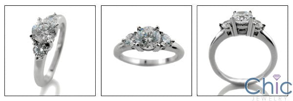 3 Stone CZ Ring 2 Ct Round Center 14K White Gold