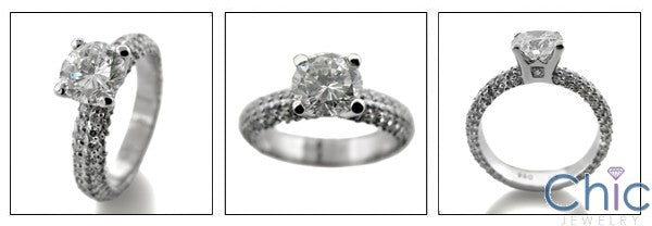 Engagement 1. Ct Center Round 4 Rows Pave Cubic Zirconia Cz Ring