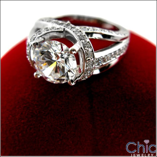 Engagement 1.75 Round Stone Criss Cross Pave Cubic Zirconia Cz Ring