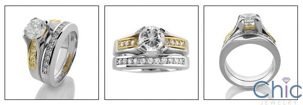Matching Set Round 1 Ct Center Two Tone Channel Cubic Zirconia Cz Ring