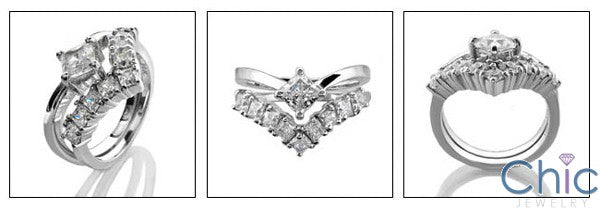 Matching Set .50 Princess Solitaire Fitted Cubic Zirconia Cz Ring