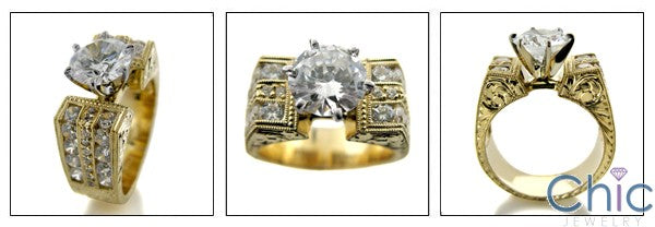 Cubic Zirconia Engagement 1.5 Round Center Ring Channel Sides Hand  Engraved Shank 14K Gold