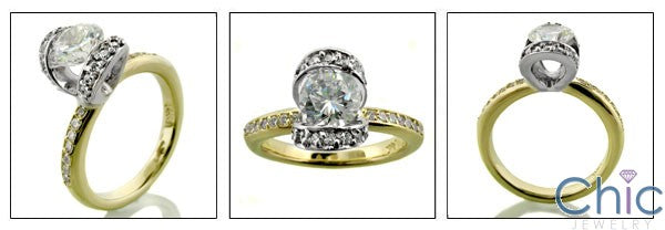 Anniversary Round 1 Ct Channel two tone Cubic Zirconia Cz Ring