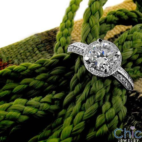 Cubic Zirconia Round 1 Carat Engagement Antique Style Halo Pave Cz 14K White Gold Ring
