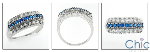 Estate 0.75 TCW Sapphire Carat Diamond Cubic Zirconia 14K White Gold Ring