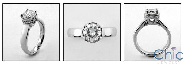 Engagement 1.25 Ct Round Center Tiffany Lucida Style Cubic Zirconia 14K White Gold Ring