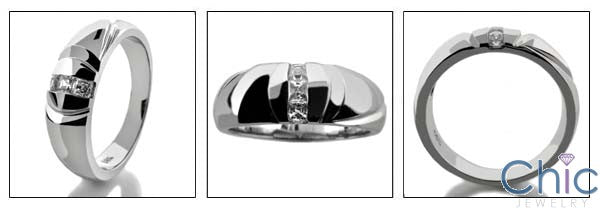 Mens .15 Princess in Channel Cubic Zirconia CZ Wedding Band