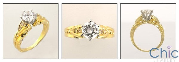 Engagement 1 Carat Round 6 prong Cubic Zirconia 14k Yellow Gold Ring