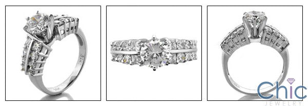 Engagement 1 Ct Round Tiffany prongs Cubic Zirconia Cz Ring