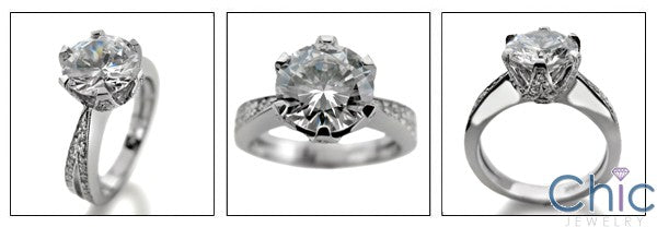 Engagement 2.5 Ct Round Center Cubic Zirconia Cz Ring with Micro Pave setting