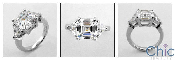 3 Stone Asscher Ct Triangle Prong Cubic Zirconia Cz Ring