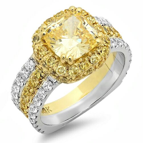 Canary Cushion Cut Two Tone Cubic Zirconia Cz Ring