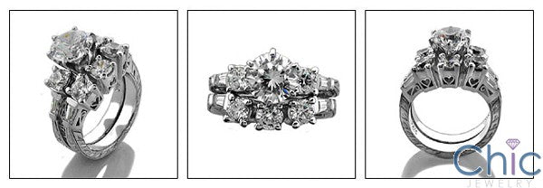 Matching Set 1.5 Round Center Fitted Filigree Engraving Cubic Zirconia Cz Ring