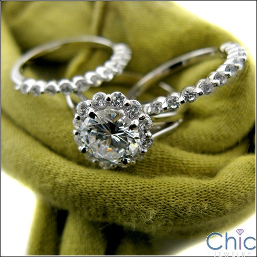 Matching Set 2 Ct Round Center Halo Ct 2 Wedding Cubic Zirconia Cz Ring