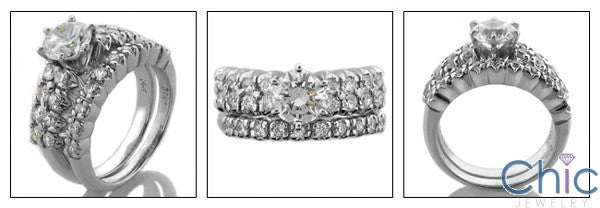Matching Set 1 Ct Round Center 1.3 Ct Cubic Zirconia Cz Ring
