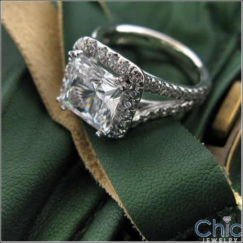 Engagement 3 Ct Princess Center Pave Split Cubic Zirconia 14k White Gold Ring