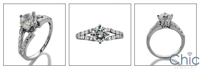 Engagement 1 Ct Round 4 Prong Cubic Zirconia Cz Ring