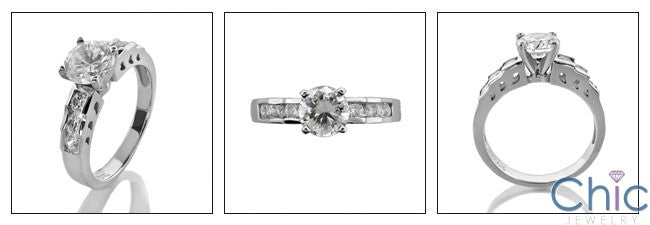 Engagement 0.75 Brilliant Center CZ Ct Channel Set Round Cubic Zirconia Cz Ring