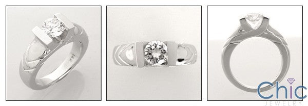 Solitaire Dome Engraved 1 Carat Round Channel Cubic Zirconia 14K White Gold Ring