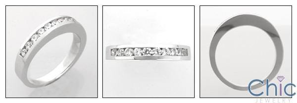 .50 Carat Total Channel Set Round Cubic Zirconia Wedding Band 14K White Gold