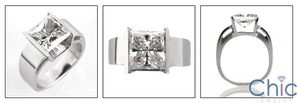 Cubic Zirconia Solitaire 3 Carat Princess Channel 14K White Gold Ring
