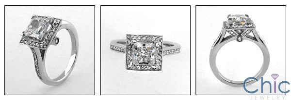 Engagement 1.25 Ct Princess Halo Pave Cubic Zirconia Cz Ring