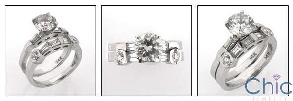 1.5 Carat Round CZ Center Flush Channel Cubic Zirconia Engagement Ring Set