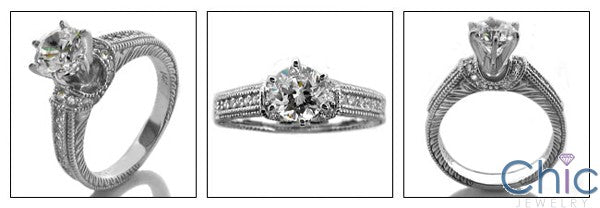 Engagement Round Cubic Zirconia 1 Ct Center Engraved Pave Shank 14k White Gold Cz Ring