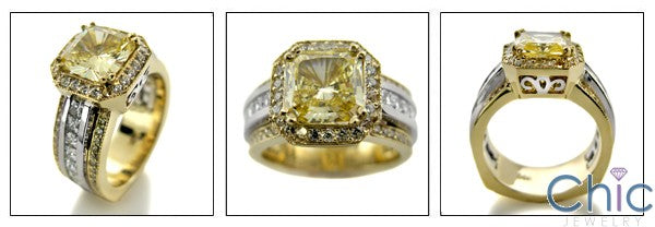 2 Ct Canary Princess Center Two Tone Gold Pave Channel Cubic Zirconia Engagement Ring