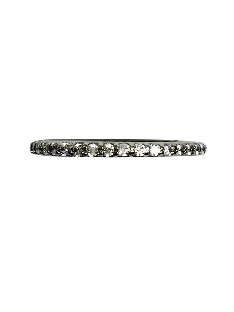 Platinum Narrow wedding band with round cubic zirconia stones