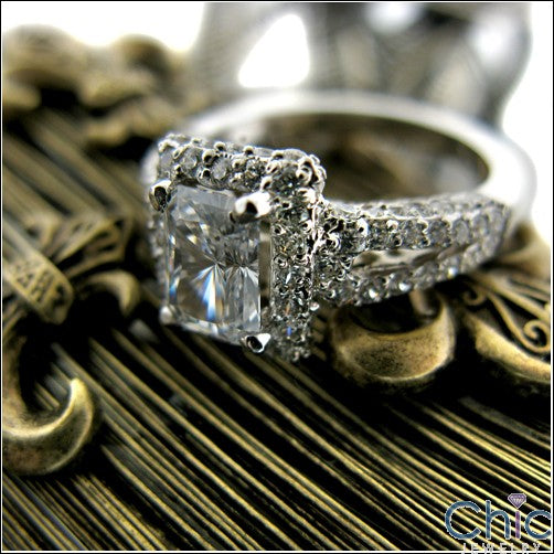 Radiant Cut 1 Carat Cubic Zirconia Engagement Ring Pave Sides 14K White Gold