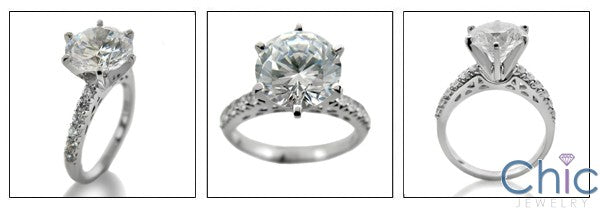 Engagement Round 3 Ct Center Pave Set Cubic Zirconia Cz Ring
