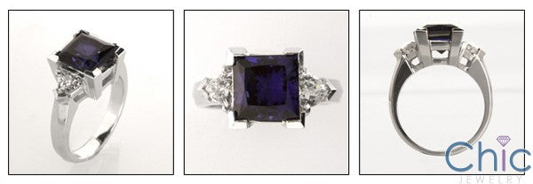Anniversary 3.5 Princess Sapphire Ct Trillions Cubic Zirconia Cz Ring