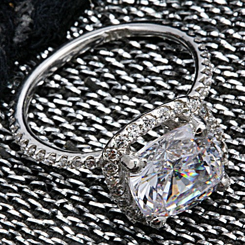 Engagement 3 Ct Cushion Halo Pave Narrow Cubic Zirconia Cz Ring