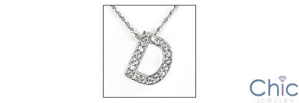 Cubic Zirconia Cz Letter D in Pave Initial Pendant