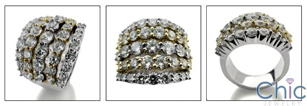 Anniversary 6.5 TCW Round 5 Rows Cubic Zirconia Cz Ring