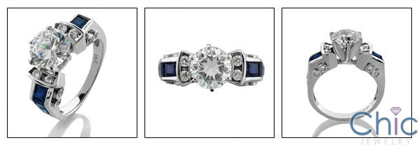 Engagement 1.5 Round 6 Prong Tiffany Style Sapphire Channel Princess Cubic Zirconia Cz Ring