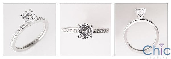 Eternity Round 1 Ct 4 Prong Pave Eternity Cubic Zirconia Cz Ring