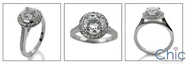 Engagement 1.25 Round Center Halo Cubic Zirconia White Gold 14k Ring