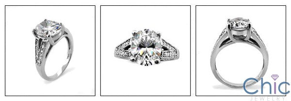 Engagement Oval 3 Ct Diamond CZ Center Pave Cubic Zirconia Sides 14K White Gold Ring