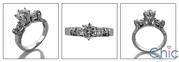 Engagement Round Cubic Zirconia 6 Prong Tiffany Ct Pave detail Cubic Zirconia Cz Ring