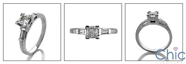 Engagement Half Ct Princess Tapered Baguettes Cubic Zirconia Cz Ring