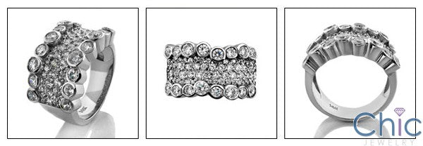 Cubic Zirconia Band Bezel and Pave Set 14k White Gold
