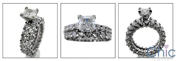 Matching Set Princess 1 Ct Share Prong Eternity Style Cubic Zirconia Cz Ring