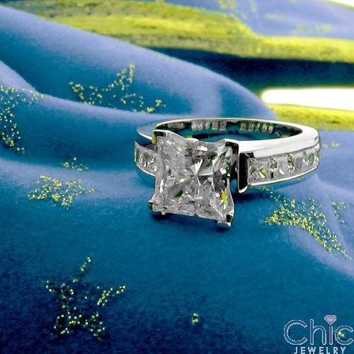 Channel Set Cubic Zirconia Princess Cut 1.5 Carat 4 Prong Center Engagement Ring 14k White Gold