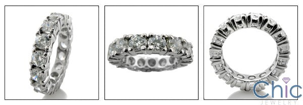 Eternity 4 Carat Total Round Cubic Zirconia Share Prong 14K White Gold Band